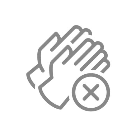 Medical gloves with cross checkmark line icon. No hand protection, hand disinfection symbol