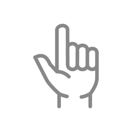 Two fingers up line icon. Pointing direction, gun hand gestures symbol and sign illustration design. Isolated on white background Иллюстрация