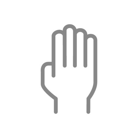 Human hand line icon. Open palm gesture symbol and sign illustration design. Isolated on white background