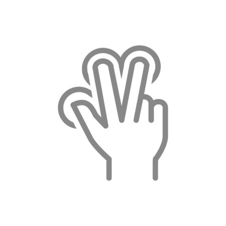 Multitouch for three fingers line icon. Touch screen finger gesture symbol Stock Illustratie