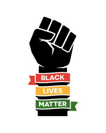 Black Lives Matter Poster illustration design. Raised fist Ilustración de vector