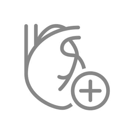 Heart with plus line icon. Healthy circulatory system symbol