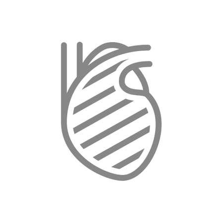Sore heart line icon. Circulatory system illness, myocardial infarction symbol