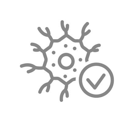 Neuron with tick checkmark line icon. Healthy neural tissue, nerve cell check symbol