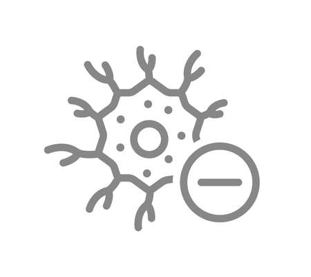 Neuron with minus line icon. Disease neural tissue, dead nerve cell symbol