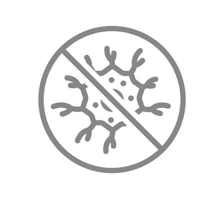 Nerve cell with prohibition sign line icon. Dead neuron, neural atrophy, no sensitivity symbol