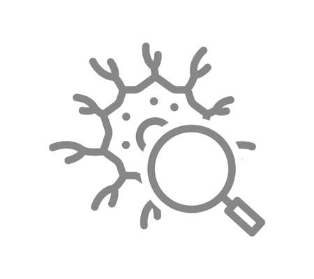 Nerve cell with magnifying glass line icon. Neural tissue research, health analyzes, disease prevention symbol Vector Illustration