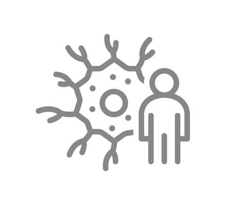 Neuron with man line icon. Human neural tissue, nerve cell symbol