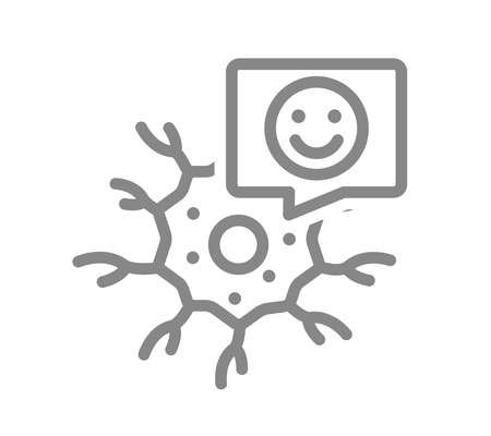 Neuron with happy face in speech bubble line icon. Healthy neural tissue symbol