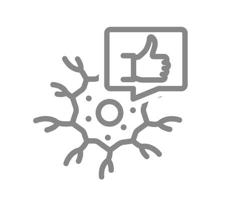 Neuron with thumb up in speech bubble line icon. Healthy neural tissue symbol Vector Illustration