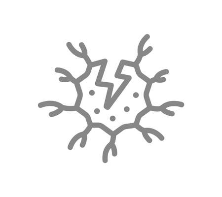 Nerve cell with acute pain line icon. Neural tissue disease symptom, neural atrophy symbol