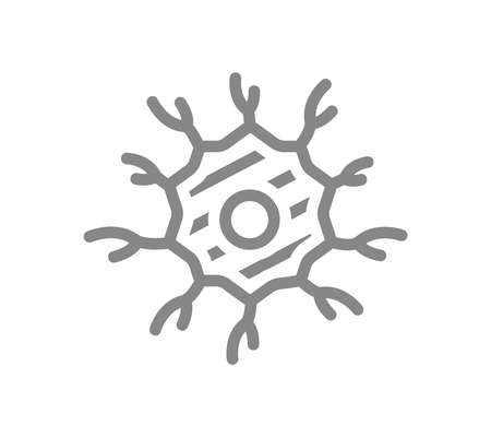 Sore nerve cell line icon. Neuron illness, infected neural tissue, neural atrophy symbol Vector Illustration