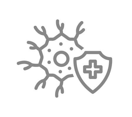 Healthy neuron line icon. Treatment, first aid for neural tissue disease symbol