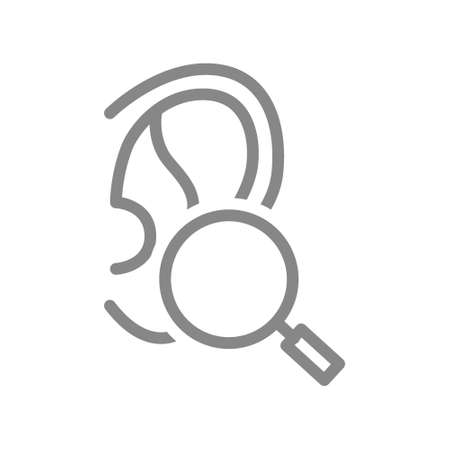 Ear with magnifying glass line icon. Organ research, health analyzes, disease prevention symbol