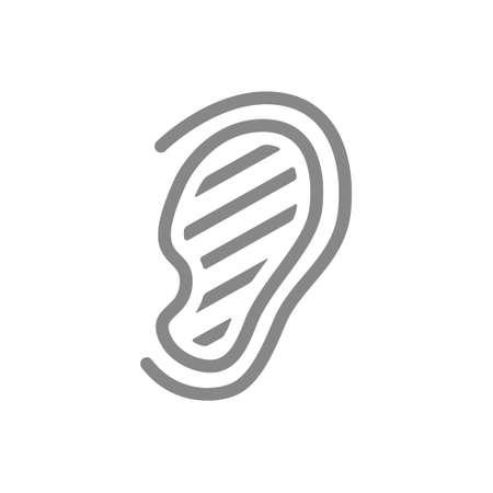Sore human ear line icon. Hearing organ illness, misophonia symbol