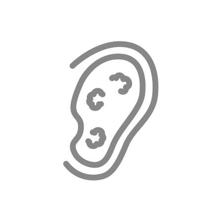 Ear with tumors line icon. Cancer of the outer ear, disease hearing organ, otitis symbol