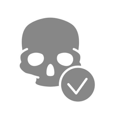 Skull with tick checkmark grey icon. Bone structure of the head symbol