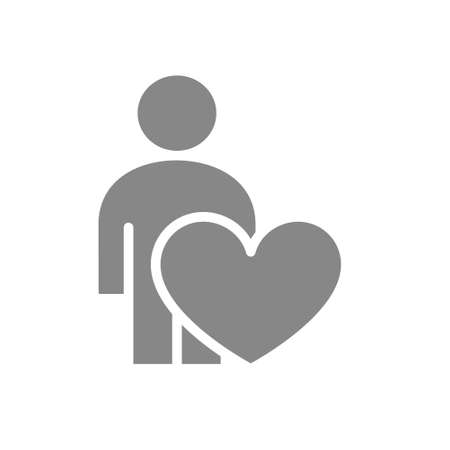 User profile with heart gray icon. Charity, donation, feedback symbol