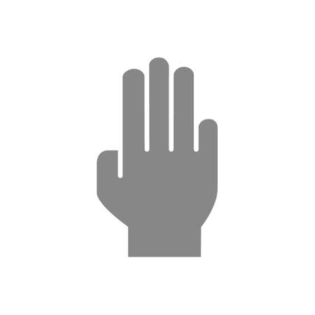 Human hand gray icon. Open palm gesture symbol