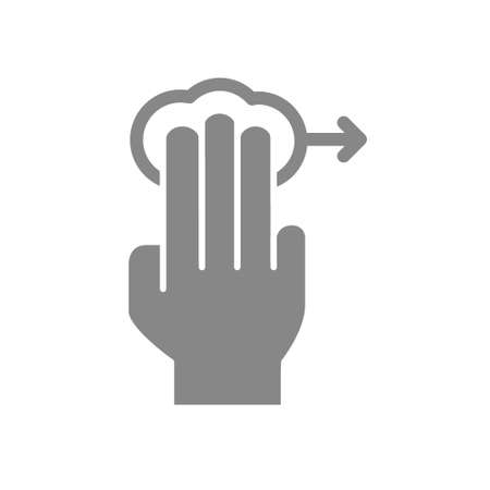Tap with three fingers and swipe right grey icon. Multi touch screen fingers, 3x tap symbol Vektorové ilustrace