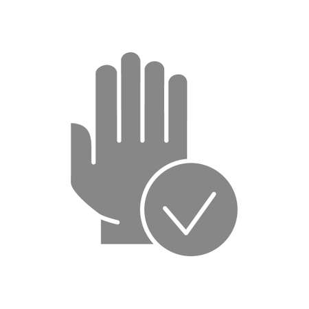 Hand with tick checkmark grey icon. Hygiene, human protection symbol