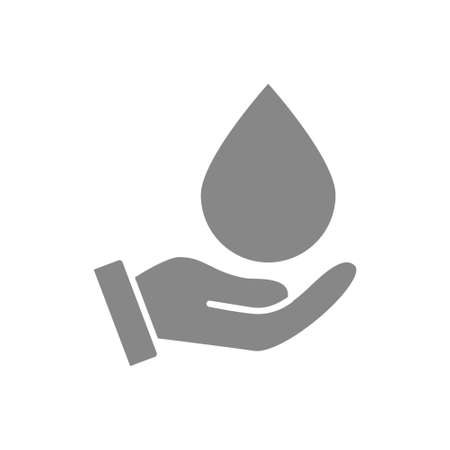Water drop on hand grey icon. Cleaning supply, hand disinfection symbol