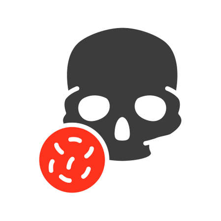 Skull with bacteria colored icon. Bones of the head, cranial bacterial infection, osteomyelitis symbol