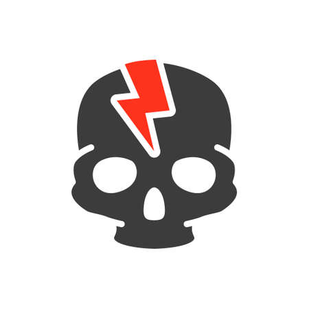 Skull with acute pain colored icon. Broken cranium, bone structure of the head symbol Ilustracja