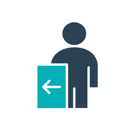 User profile with exit sign colored icon. Public navigation symbol Illustration