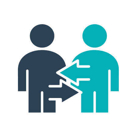 Two user profile with arrows colored icon. Exchange workers, staff turnover symbol