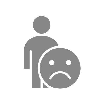 Human with unhappy emotions gray icon. Upset face, unsatisfied symbol