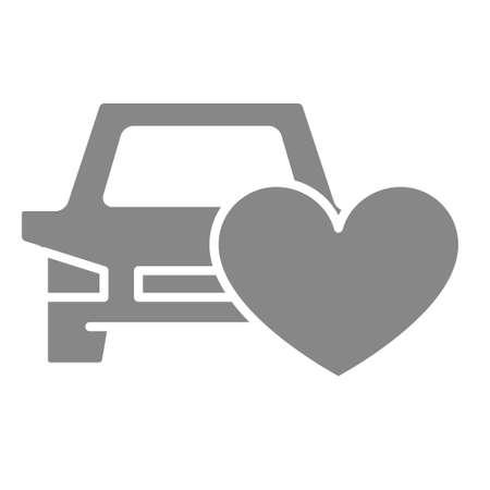 Car with heart gray icon. Car insurance, like, feedback symbol