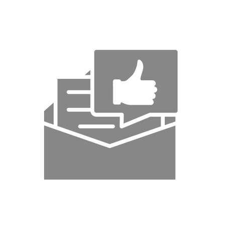 Recommendation letter gray icon. Letter with thumb up in speech bubble, praise, like symbol