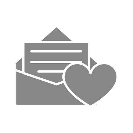 Feedback letter with heart grey icon. Customer satisfaction, user approvement symbol.