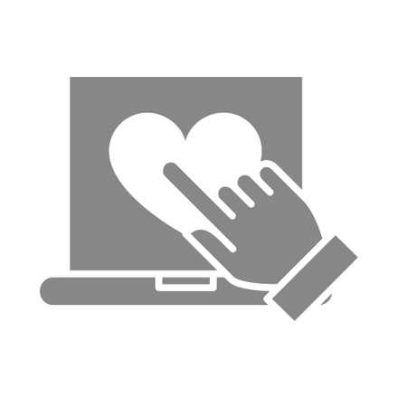 Laptop with heart and hand cursor gray icon. Customer satisfaction symbol.