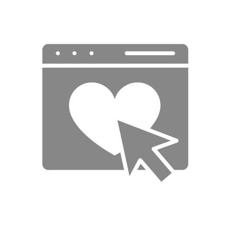 Email, webpage with heart and arrow cursor gray icon. Customer satisfaction, feedback symbol.