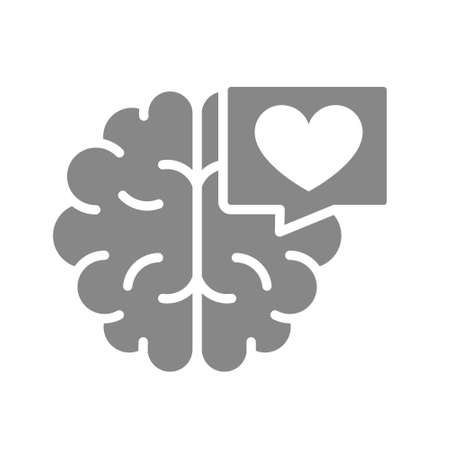 Brain with heart in chat bubble gray icon. Healthy internal organ symbol. Vettoriali