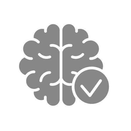 Brain with tick checkmark gray icon. Internal organ symbol
