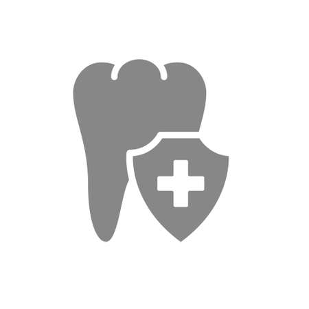 Healthy protected tooth gray icon. First aid for tooth symbol