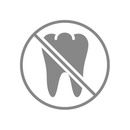 Tooth with prohibition sign gray icon. Transplantation, pull out a tooth symbol.