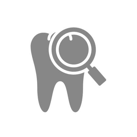 Tooth with magnifying glass gray icon. Organ research symbol.