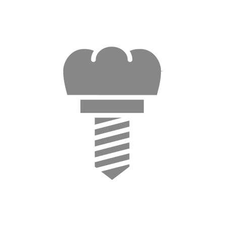 Dental implant gray icon. Tooth restoration symbol.