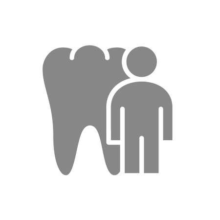 Tooth with man gray icon. Organ in the oral cavity symbol Illusztráció