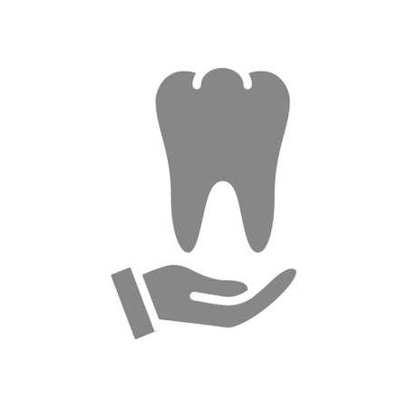 Human tooth on hand gray icon. Disease prevention symbol Illusztráció