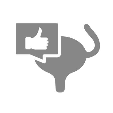 Urinary bladder with thumb up gesture in chat bubble gray icon. Muscular organ of the excretory system symbol Illustration