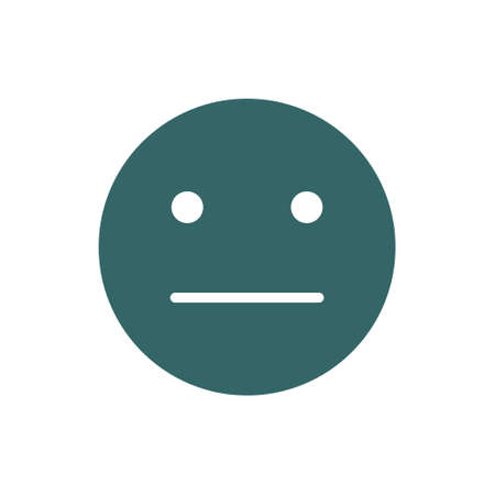 Expressionless emoji colored icon. Emotionless, indifferent face symbol.