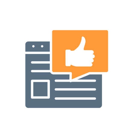 Web page with thumb up colored icon. Best advertising, feedback, rating symbol