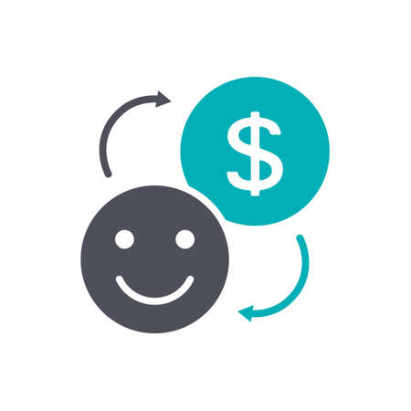 Coin and happy smiley face colored icon. Exchange happiness on money symbol Illustration