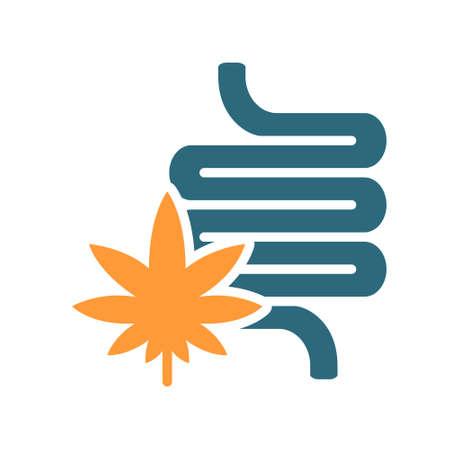 Human intestine with marijuana colored icon. Cannabis treatment, anesthesia symbol Ilustracja