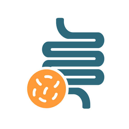 Intestine with bacteria colored icon. Diseased internal organ, irritable bowel syndrome, constipation symbol